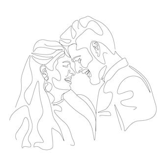 線画スタイルで顔のイラストにキスするミニマリストのカップルを描く一本線