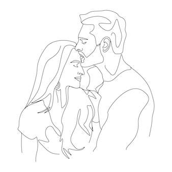 One line drawing minimalist couple kissing face illustration in line art style