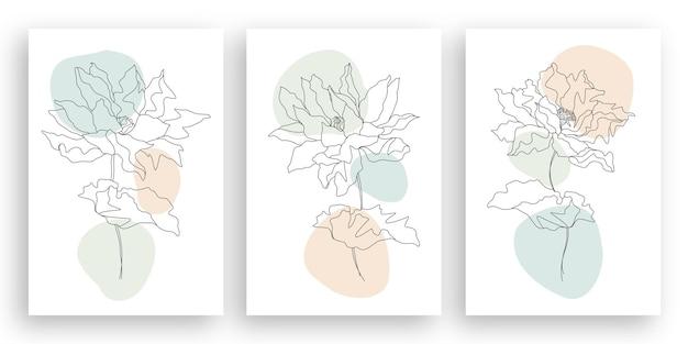 線画風のミニマリストの花のイラストを描く一本線