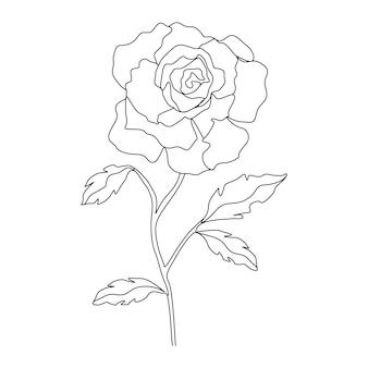 라인 아트 스타일의 한 줄 그리기 미니멀리스트 꽃 그림
