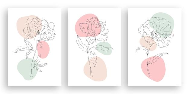 One line drawing minimalist flower illustration in line art style