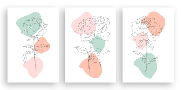 One line drawing minimalist flower illustration