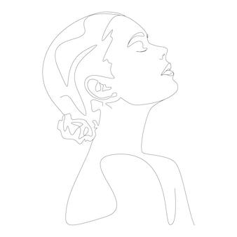 라인 아트 스타일의 한 줄 그리기 미니멀리스트 여성 얼굴 그림