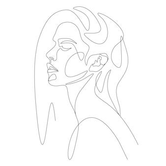 Рисование одной линии минималистское лицо женщины иллюстрация в стиле арт