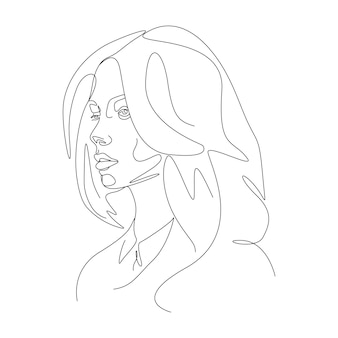 One line drawing minimalist woman face illustration in line art style