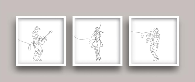 One line drawing of musicians performing and playing music poster set