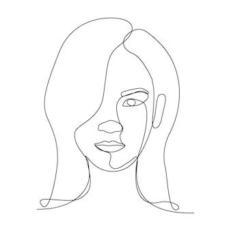 Один рисунок линии азиатских один глаз закрыт с ее волосами, а другой глаз смотрит вперед смотреть эмоции. люди человек искусство рисования линии.