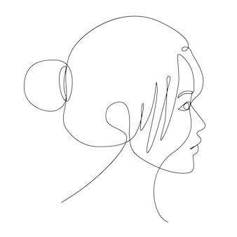 Рисование одной линии лица азиатской женщины, глядя на левую сторону. люди женщины искусство рисования линии.