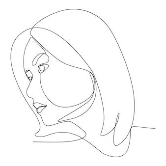 アジアの女性の1本の線画は側面図顔感情感を見てください。線画の人々の女性の芸術。