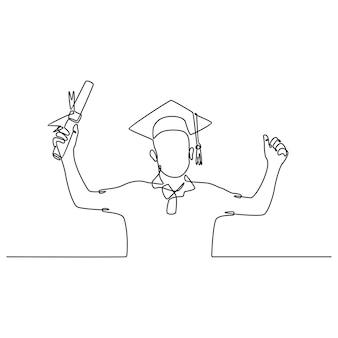 Рисование одной линии счастливого молодого аспиранта в выпускной форме и показывающего большие пальцы руки