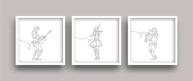 Рисунок одной линии музыкантов, исполняющих и играющих музыкальный плакат