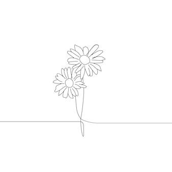 2つの花の1つの線画連続線画