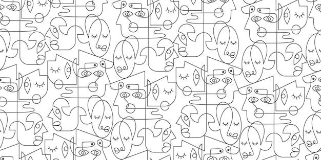 Шаблон рисования одной линии с абстрактным украшением лица