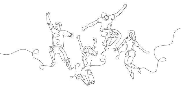 Рисование одной линии люди прыгают со счастливым