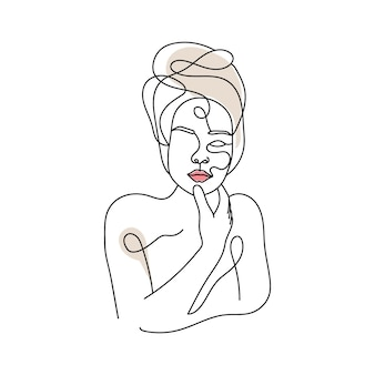 One line drawing woman face line art minimalism style poster premium vector