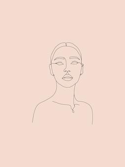 1本の線画の女性の肖像画のバナー美的抽象ミニマリスト女性のシルエットイラスト