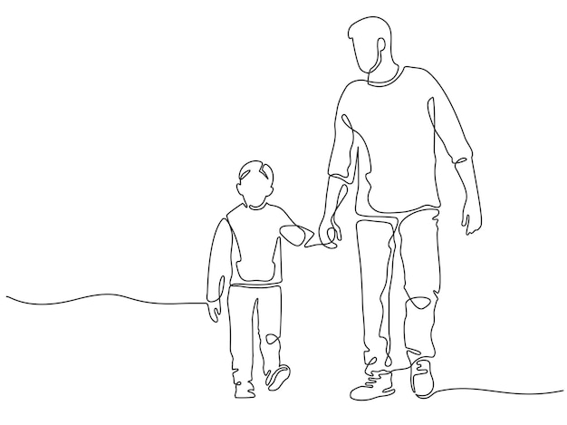 One line father. dad walking with son. fatherhood poster with man and child holding hands. continuous lines happy fathers day vector concept. cheerful male parent with carefree toddler