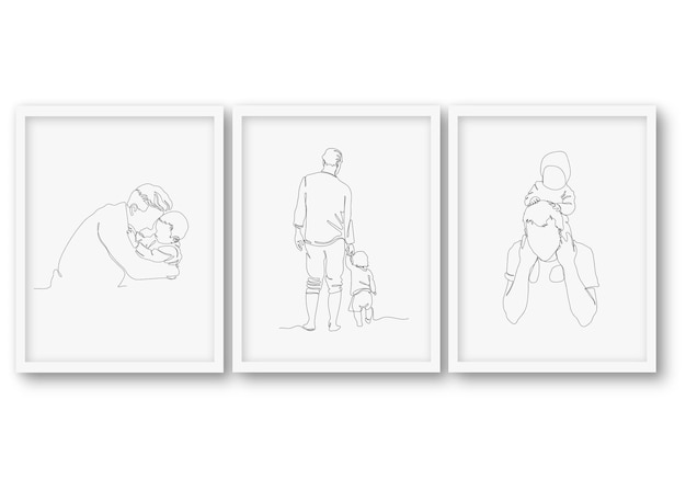 One line father's day set poster  illustration