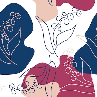 1行の花の手描きの抽象的な形状パターン
