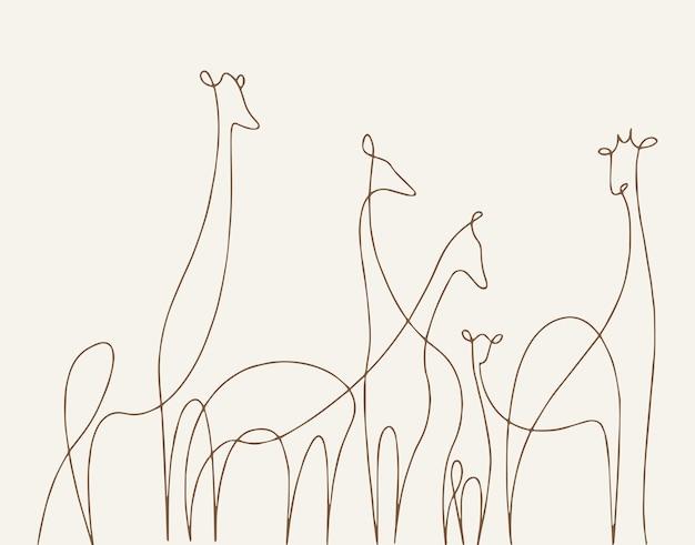 한 줄 기린 . 손으로 그린 선형 스케치입니다. 벡터 그래픽 동물입니다.