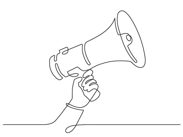 メガホン付きワンラインハンド。人は連続線スタイルでスピーカーを保持します。販売、雇用またはイベント発表ベクトルの概念のシンボル。イラストハンドホールドメガホン