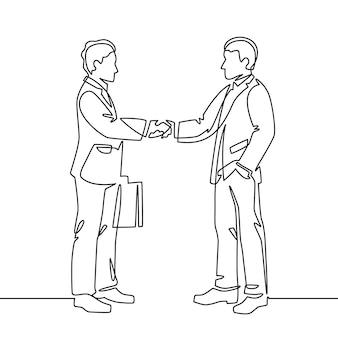 1行のハンドシェイク。握手、パートナーシップチームワーク、パートナーコラボレーション連続線ベクトルの概念とビジネス契約のシンボル。ハンドシェイク取引、プロのキャラクターイラストの挨拶