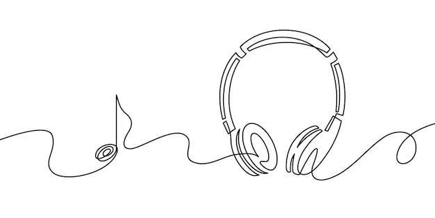 원 라인 헤드폰. 음악 가제트 및 메모의 연속 그리기. 오디오 헤드폰 개요 스케치입니다. 음악 기호의 선화 벡터 개념입니다. 일러스트레이션 헤드폰 드로잉 컨투어 모노라인