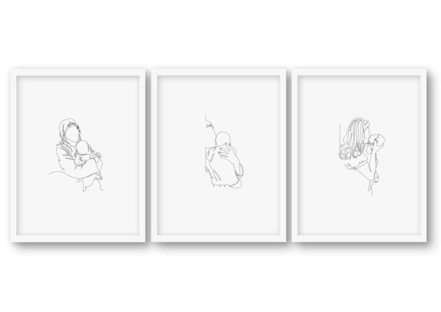 One line mother's day baby shower set, poster stock illustration
