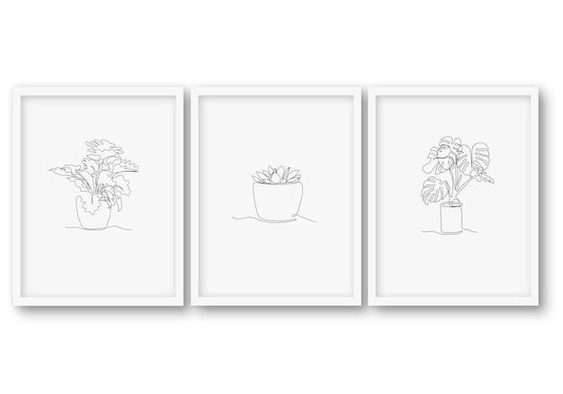 한 줄, 식물, 세트, 포스터 스톡 일러스트