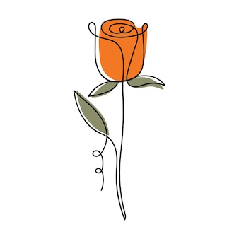One line rose designhand drawn minimalism style color illustration of flower in style of line art