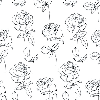 One line seamless pattern with roses texture for textile packaging wrapping paper social media post