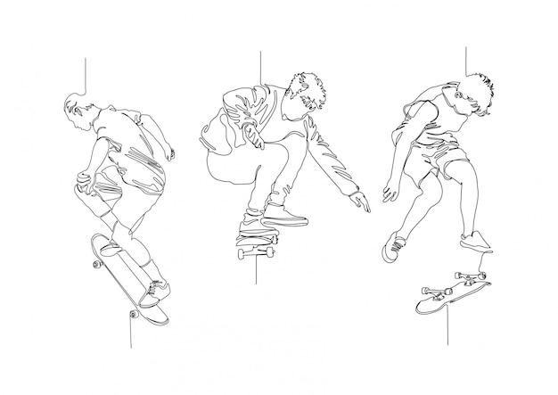 한 줄 스케이트 로고 설정 스톡 일러스트 벡터