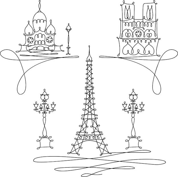 Однолинейный эскиз достопримечательностей парижа