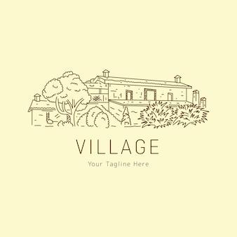 風景のロゴが付いた一本線スケッチ村