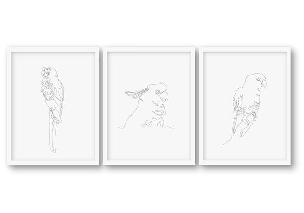 Одна линия летний день птица набор плакат складе иллюстрация