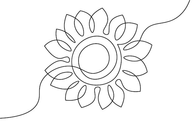 한 줄 해바라기 요소입니다. 흑백 흑백 연속 단일 라인 아트. 꽃의 자연 여자의 날 선물 낭만적인 날짜 그림 스케치 개요 그리기.