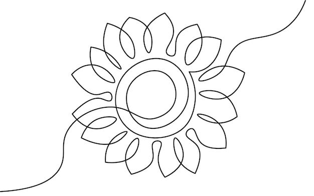One line sunflower element. black and white monochrome continuous single line art. floral nature woman day gift romantic date illustration sketch outline drawing.