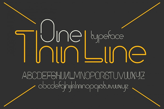 One line vector font set