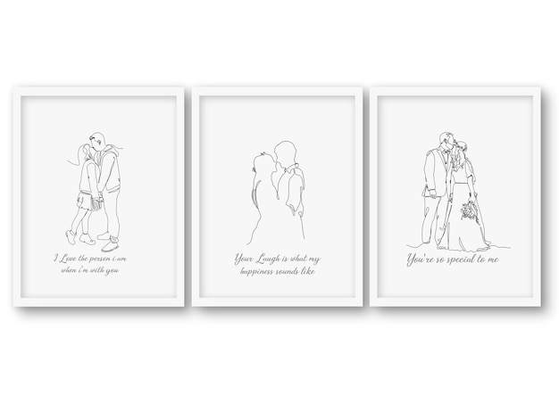 One line  wedding couple set, poster stock illustration