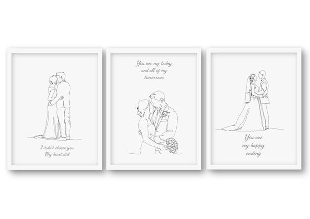 Одна линия свадебного набора иллюстрации