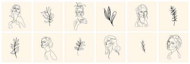 一行の女性の肖像画と現代的な抽象的なスタイルの葉。手描きイラスト。