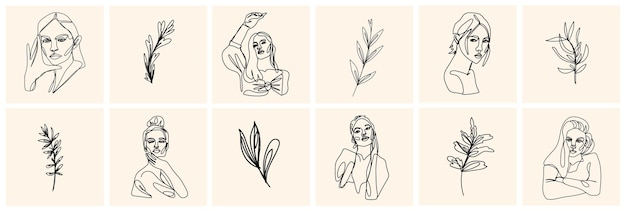 一行の女性の肖像画と現代的な抽象的なスタイルの葉。ベクトル手描きイラスト。