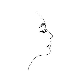 한 줄의 여자 얼굴. 현대적인 미니멀리즘 스타일의 프로필에 여성 초상화의 연속 라인. 벽 예술을 위한 벡터 일러스트레이션, 티셔츠, 로고, 아바타 등에 인쇄