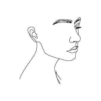 한 줄의 여자 얼굴. 현대적인 미니멀리즘 스타일의 프로필에 여성 초상화의 연속 라인. 벽 예술, 티셔츠 인쇄, 로고, 아바타 등을 위한 벡터 일러스트레이션