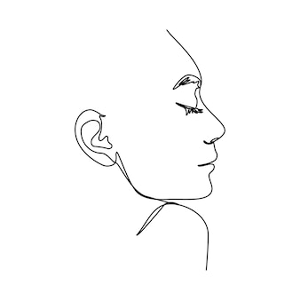 One line woman's face. a continuous line of female portrait in profile in a modern minimalist style. vector illustration for wall art, printing on t-shirts, logos and avatars, etc.