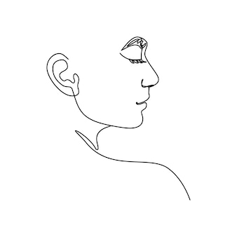 One line woman's face. a continuous line of female portrait in profile in a modern minimalist style. vector illustration for wall art, t-shirt prints, logos, avatars, etc.