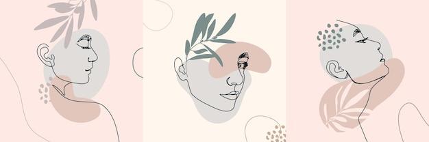 Лица одной линии женщины. сплошная линия женский портрет в профиль. векторные иллюстрации