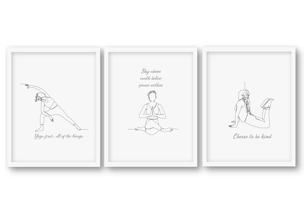 One line yoga pose set, poster stock illustration