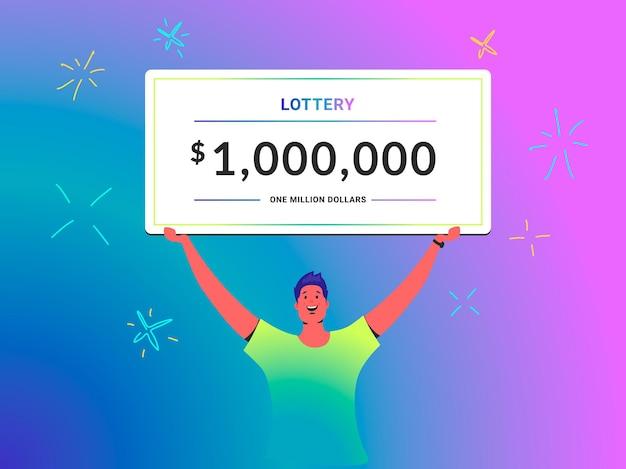 100만 달러 수표 젊은 남자의 개념 벡터 삽화는 우승자로서 큰 복권 증명서를 머리 위에 들고 있습니다. 행복한 밝은 사람들은 그라데이션 배경에서 복권을 통해 상을 받습니다