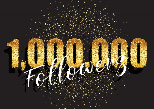 One million followers glittery celebration banner